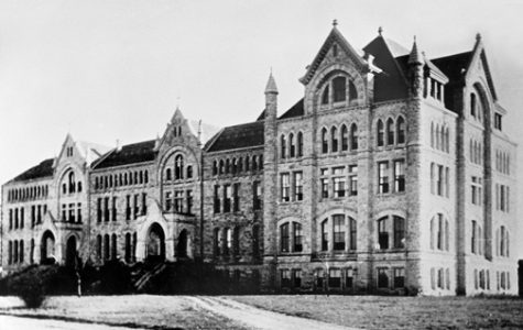 After a fire in 1903, the main building of St. Edward's University, shown in its original form above, was reconstructed.