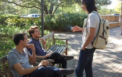 Students often gather outside to smoke cigarettes between classes