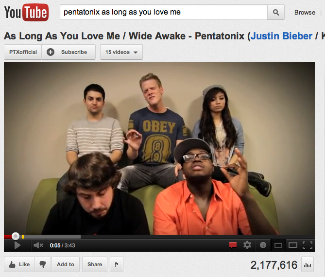 Pentatonix+gained+a+strong+fan+base+through+their+videos+on+YouTube.%0A