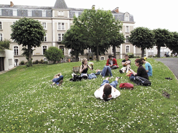 St. Edward's students studying outside in Angers, France.
