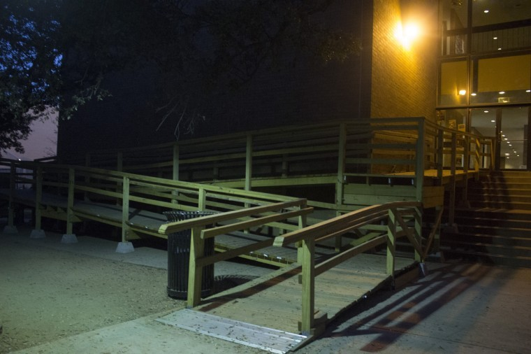 The wooden ramp outside of Moody Hall is one of the handicap-friendly additions on campus.