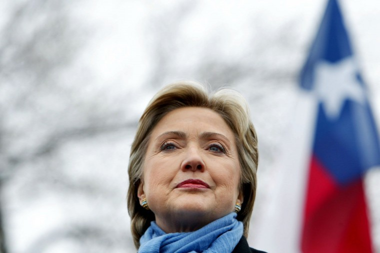 Hillary Rodham Clinton speaks at a rally at the Bank Towers parking lot in Dallas, Texas on February 20, 2008.