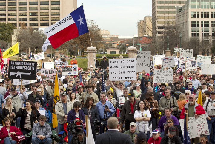 Hundreds attend the Guns Across America pro-Second Amendment rally at the Capitol in Austin, Texas, Saturday, January 19, 2013.
