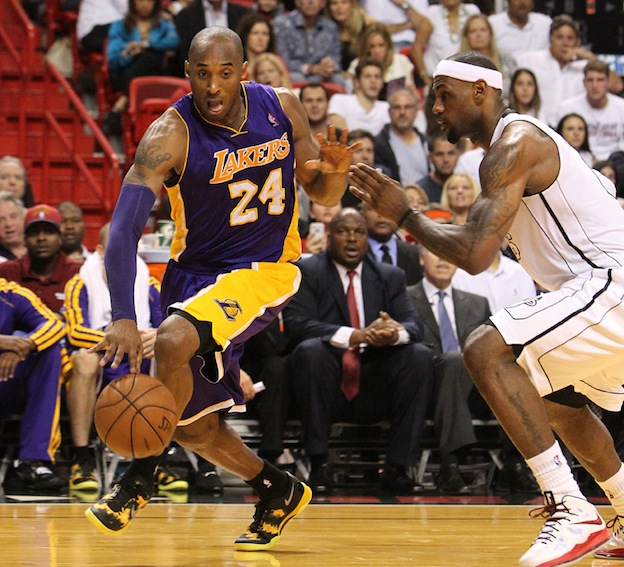 Kobe+Bryant+of+the+Los+Angeles+Lakers+drives+to+the+basket+against+LeBron+James+of+the+Miami+Heat+during+the+second+quarter+at+the+AmericanAirlines+Arena+in+Miami%2C+Florida+on+Sunday%2C+February+10%2C+2013.%C2%A0%0A
