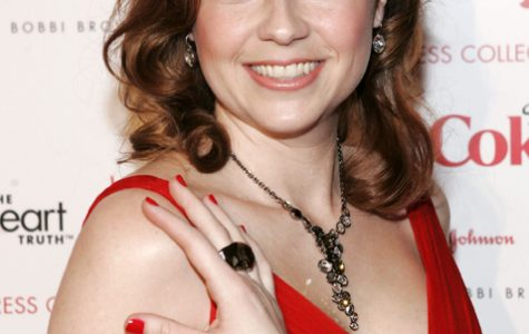 Actress Jenna Fischer in Carmen Marc Valvo poses backstage before the The Heart Truth's Red Dress Fall 2008 collection show during Mercedes-Benz Fashion Week Fall 2008, held at Bryant Park in New York City, on February 1, 2008.