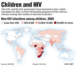 Shaded world map showing number of children infected with HIV, by country; the U.N. and the U.S. have launched a plan to cut infections among babies.