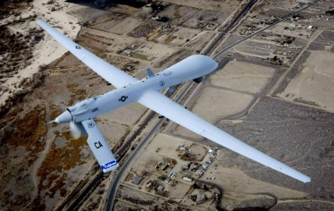 An unmanned drone flies a training mission over Victorville, California, on January 9, 2010.