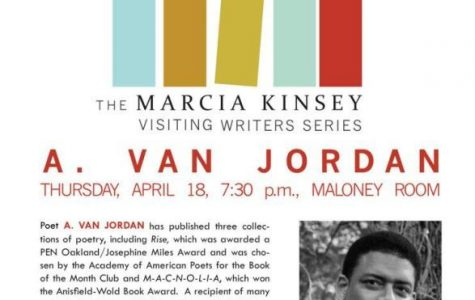 A. Van Jordan will be reading on April 18 at 7:30 in the Maloney Room.