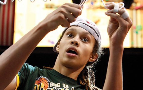 Baylor Bears center Brittney Griner (42) cuts off a piece of net after the teamês 75-47 win over Iowa State in the women's Big 12 Championship game in Dallas, Texas, Monday, March 11, 2013. (Richard W. Rodriguez/Fort Worth Star-Telegram/MCT)