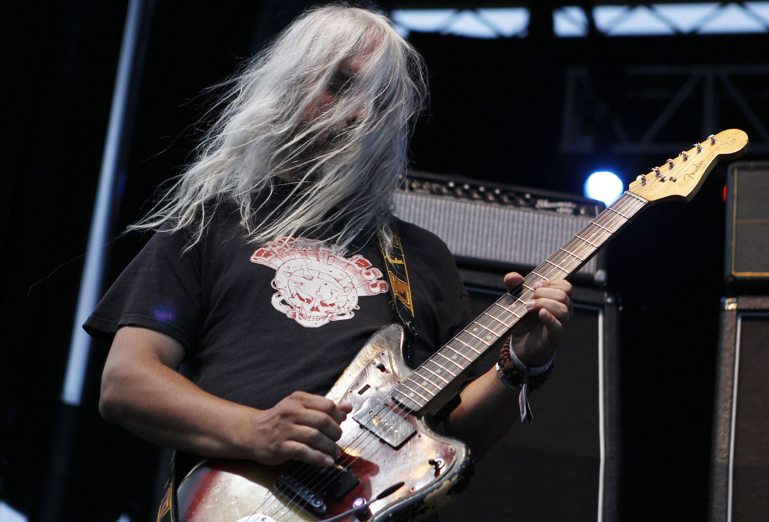 Guitarist J Mascis of Dinosaur Jr. performs during LouFest in St. Louis, Missouri on Saturday, August 25, 2012.