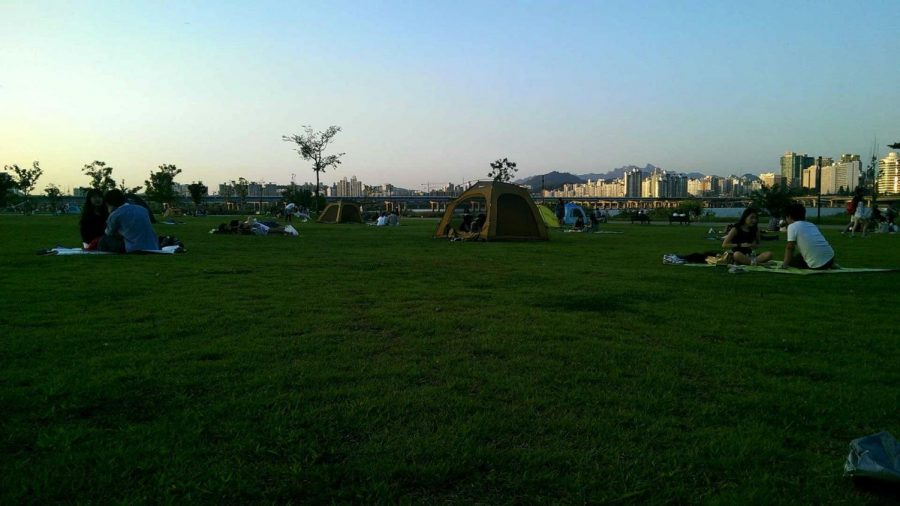 It is common in Korea to bring tents to the park and set them up to enjoy just for the day.