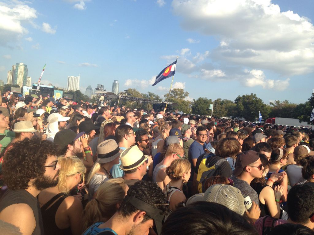 A large crowd of festival-goers gathered for St. Vincent's electric performance.