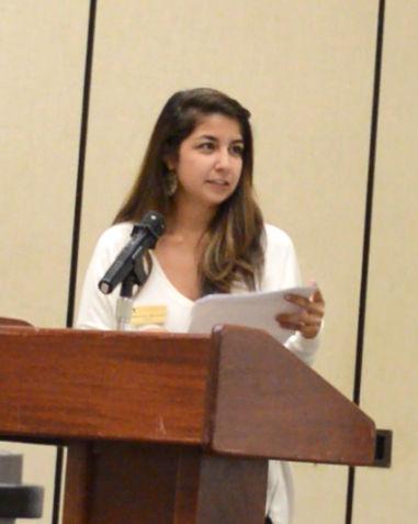 SGA President Samantha Mendoza speaks at SGA's 2014 Public Forum.