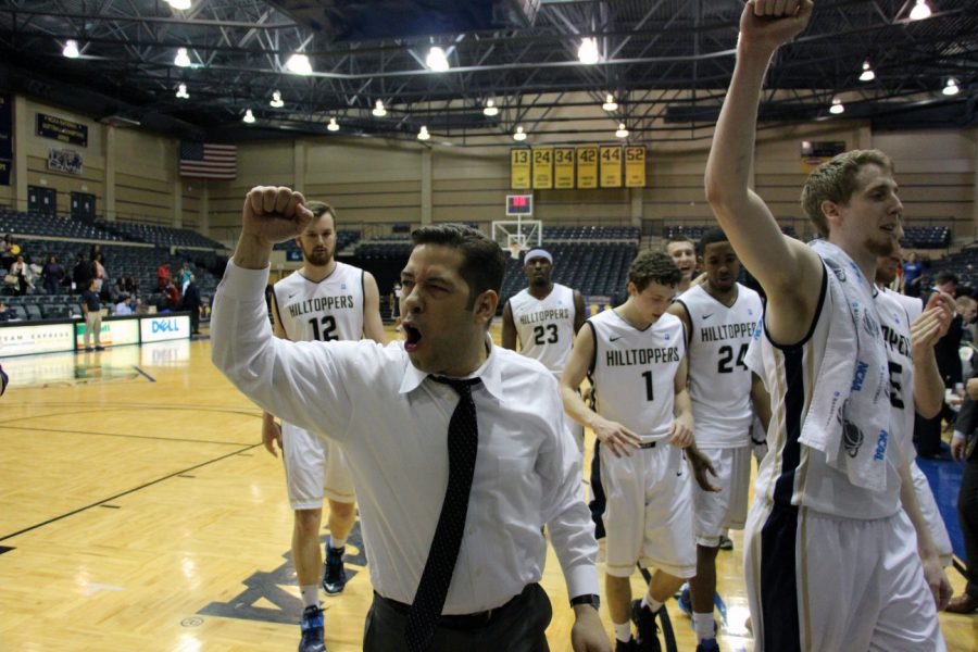 Head Coach Andre Cook and the Hilltoppers celebrate their victory over UTPB Friday night in San Antonio.
