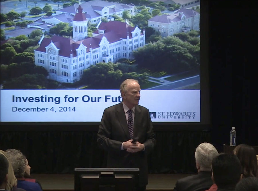 President George E. Martin gave a speech on Dec. 4, announcing the Investing for Our Future campaign.