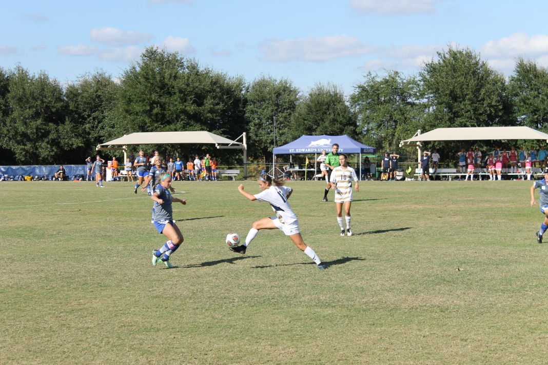 Senior defender and Heartland Conference Player of the Year Katie Donahue at the Heartland Conference Championship on Nov. 8.