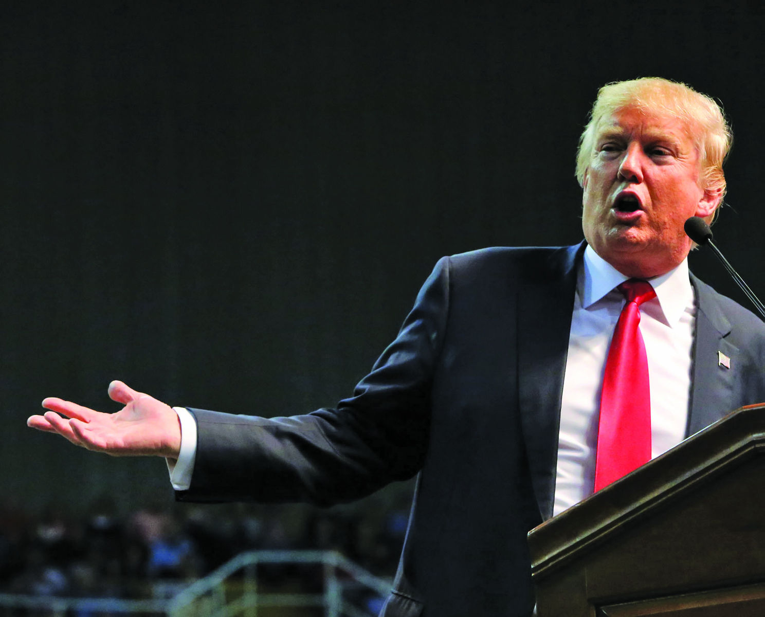 Republican presidential candidate Donald Trump speaks during a rally at the Mississippi Coast Coliseum in Biloxi, Miss., on Saturday, Jan. 2, 2016. (John Fitzhugh/Biloxi Sun Herald/TNS)