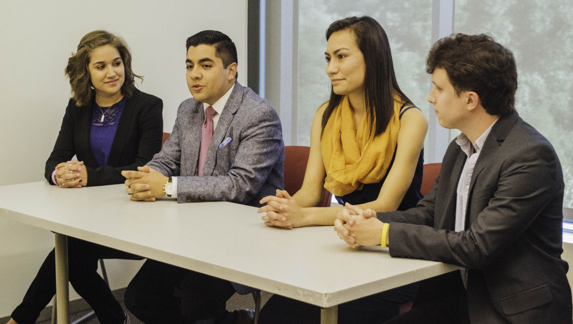 The presidential and vice presidential candidates Jamie Cardenas, left, Carlos Martinez, Anna Lopez and Ben Griffith sat down for an interview with Hilltop Views on April 6.