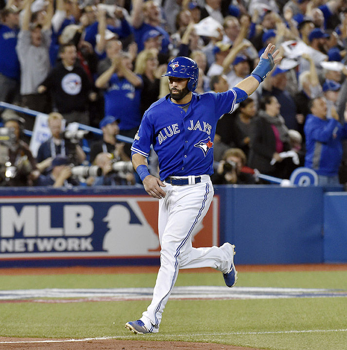 The+Toronto+Blue+Jays%27+Jose+Bautista+scores+on+a+three-run+double+by+Troy+Tulowitzki+against+the+Kansas+City+Royals+in+the+sixth+inning+during+Game+5+of+the+ALCS+on+Wednesday%2C+Oct.+21%2C+2015%2C+at+Rogers+Centre+in+Toronto.+The+Blue+Jays+won%2C+7-1%2C+leaving+the+Royals+with+a+3-2+series+lead.+%28John+Sleezer%2FKansas+City+Star%2FTNS%29