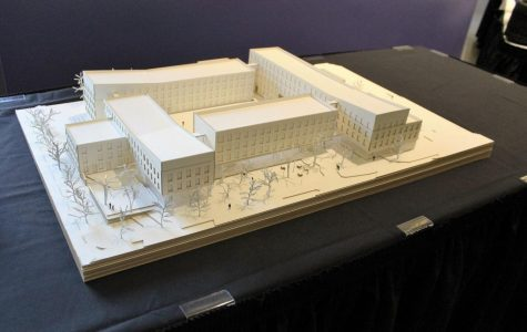 This is an exterior model of the new residence hall, which is expected to be completed by Fall 2017.