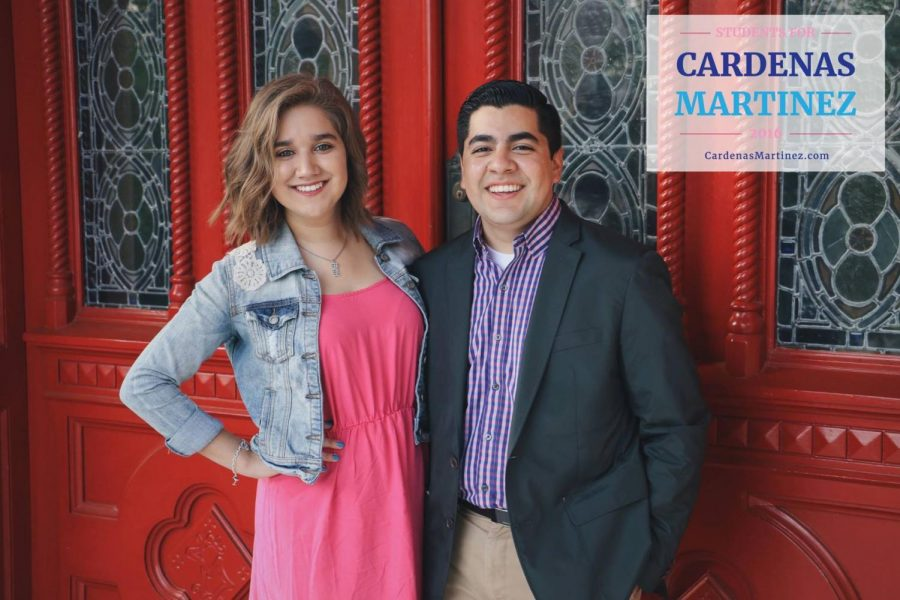 Sens.+Jamie+Cardenas%2C+left%2C+and+Carlos+Martinez+won+the+2016+SGA+presidential+and+vice+presidential+elections.+They+will+be+sworn+into+office+on+April+28.