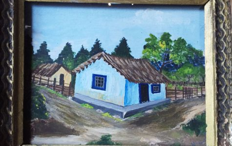A painting by Miguel Bersoza of the Cantú-Karr ranch in the 1940s.