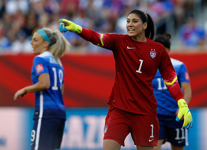Hope Solo, goalkeeper of the United States, reacts during the World Cup Group D match against Sweden at Winnipeg Stadium in Winnipeg, Canada, on Friday, June 12, 2015. (Wang Lili/Xinhua/Sipa USA/TNS)