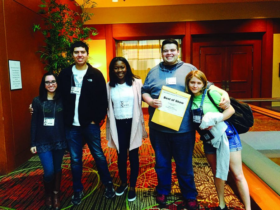 Hilltop Views editors Amanda Gonzalez, left, Jacob Rogers, Rosemond Crown, Jacob Rogers and Victoria Cavazos with their awards from TIPA.