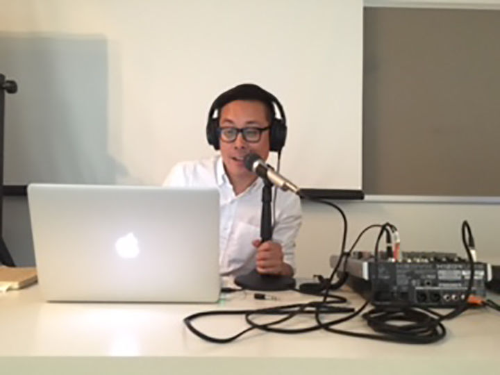 Graphic design professor Jimmy Luu gave a sneak peak of his new podcast, Designing Designers, at a faculty art exhibition on Sept. 16.