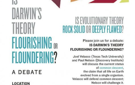 Some science professors voiced objections to the use of words in a flyer promoting a debate over evolution on Friday.