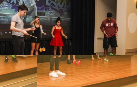 Members of Chinese classes I and III demonstrate the Chinese yo-yo and sing a song for St. Edward's University students gathered to celebrate the Chinese Moon Festival, Sept. 22, 2016.