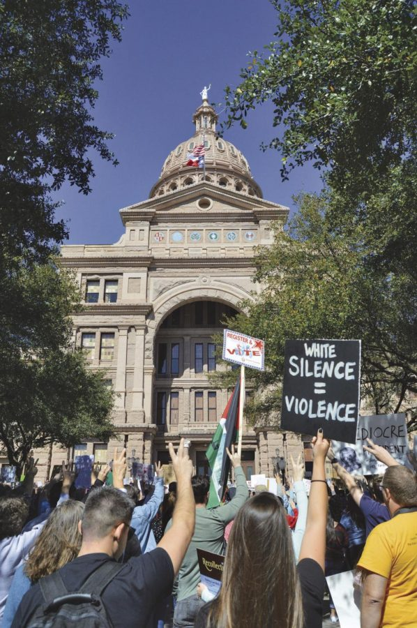 Thousands turned out at the Texas Capitol Feb. 25, to protest President Donald Trump's plan to build a wall along the Mexican-American border and executive order calling for a temporary ban of Muslims from certain countries.