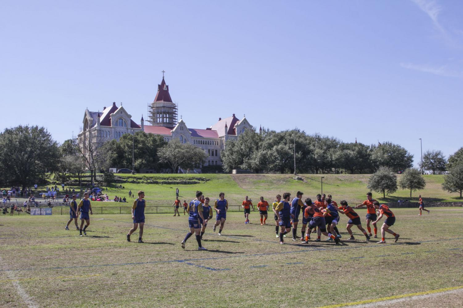 Pictured: The rugby team played on campus during Homecoming & Family Weekend Feb. 18.