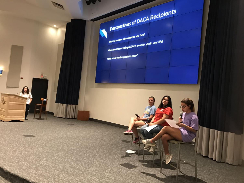 Students read aloud anonymous testimonies written by DACA students in Jones Auditorium.