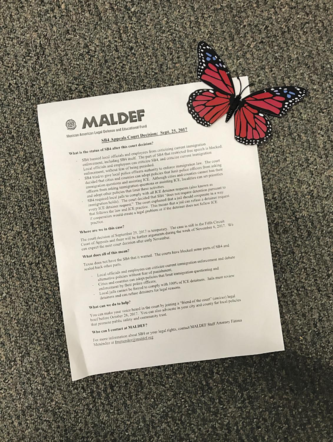 Information about SB4 was handed out to attendees.