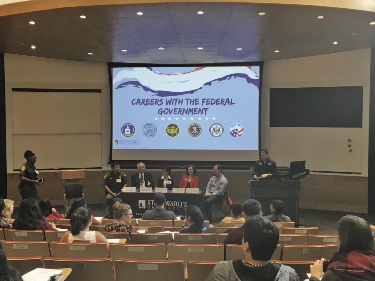 Panelists included agents from the CIA and the Peace Corps.