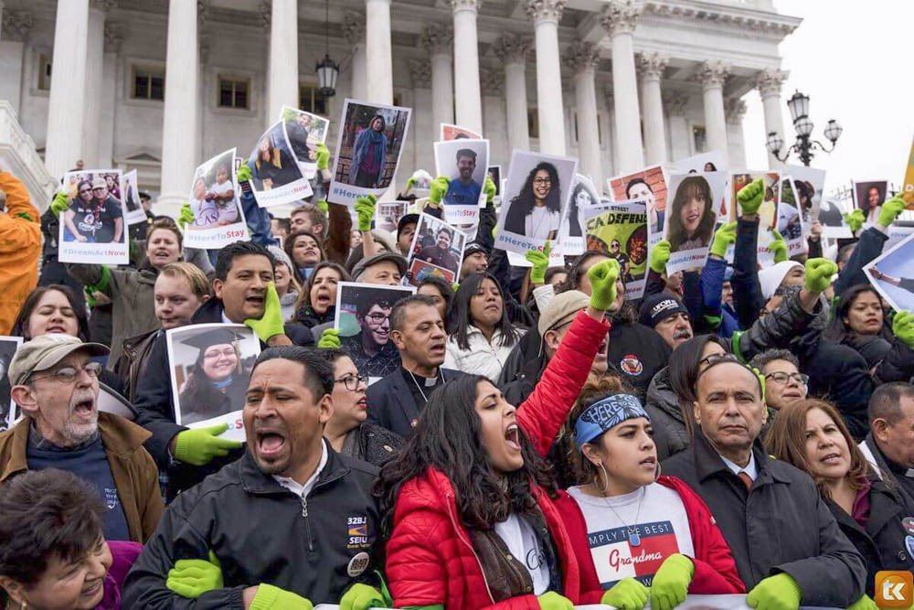 Protestors gather after Congress fails to reach decision on DACA.
