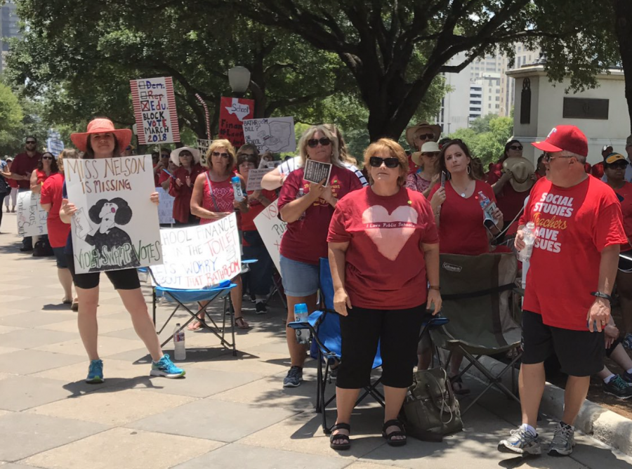 Public school educators protesting in opposition of vouchers, the