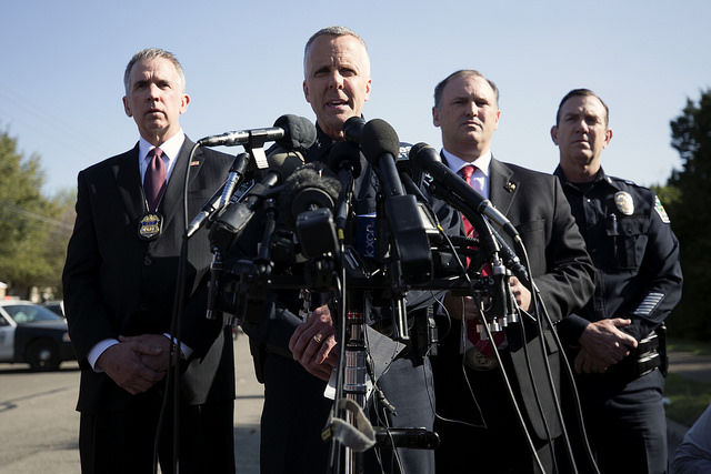 Officials+holding+a+press+conference+after+the+Monday+morning+explosion.