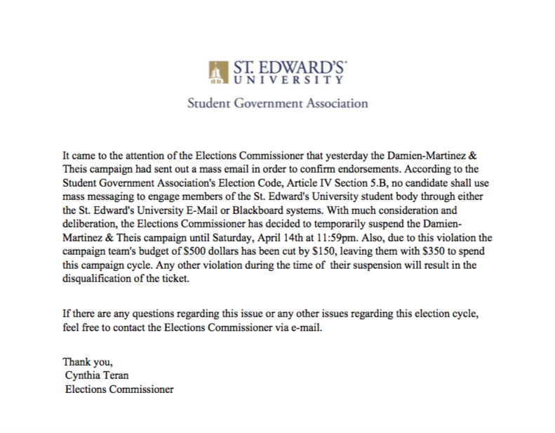 Statement from Elections Commissioner