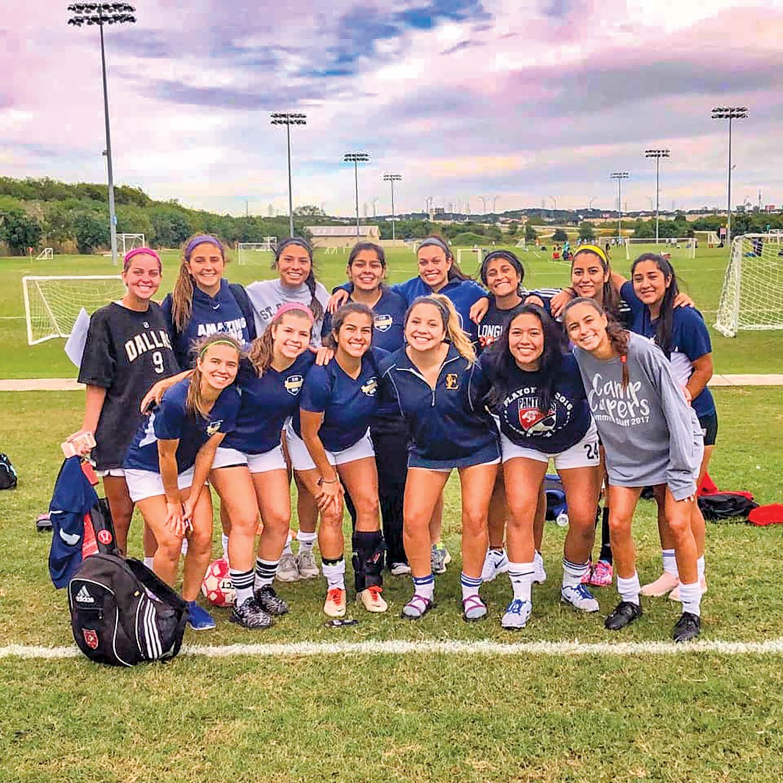 SEU women's club soccer celebrates victory over Texas A&M San Antonio.