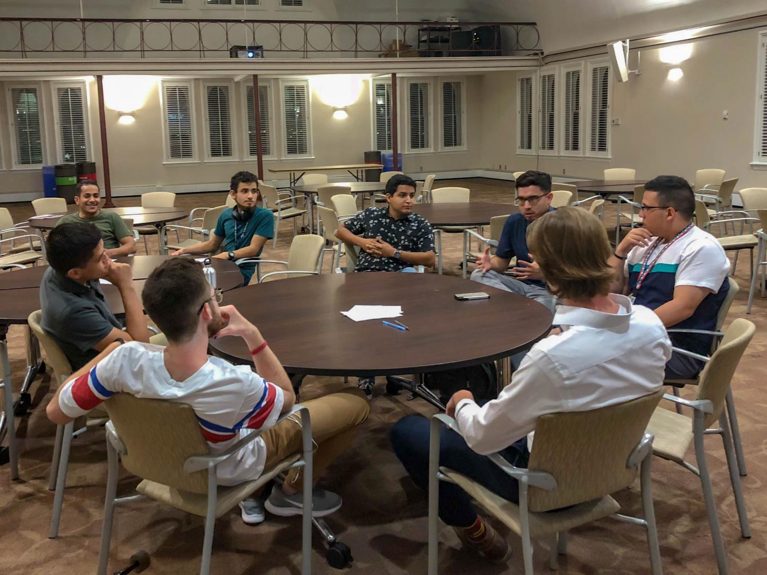 St. Edward's students gather at the It's On Us Men's Intiative.