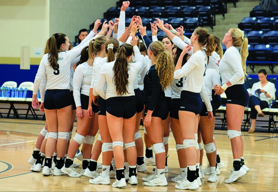 SEU volleyball team comes together after conference win.