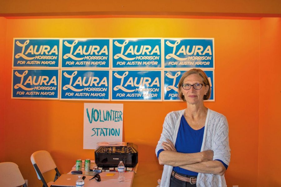 Laura Morrison at her campaign office on Guadalupe street. Morrison worked for several years as a community advocate before becoming a member of the Austin City Council.