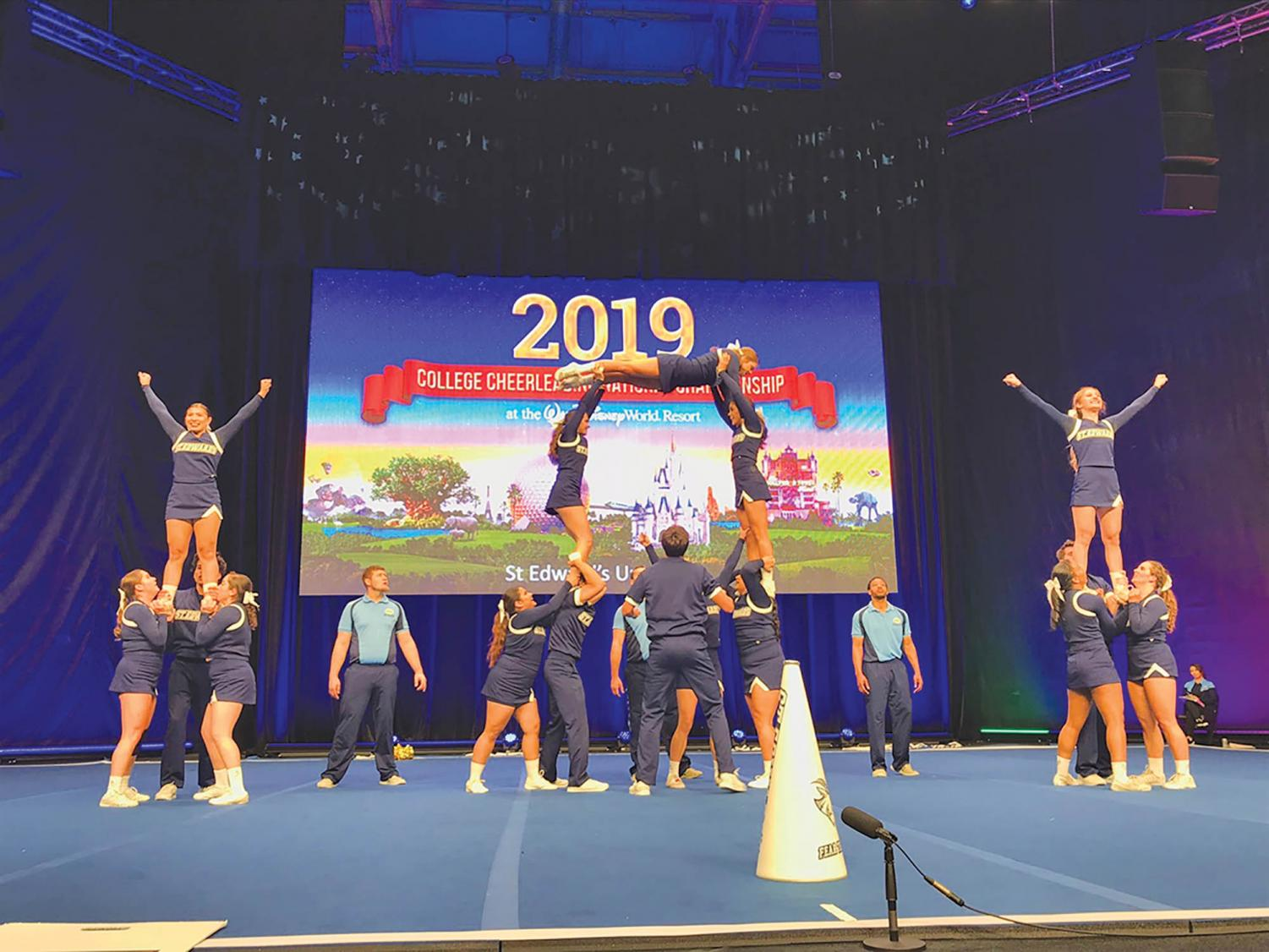 The SEU cheer squad during their National's performance.