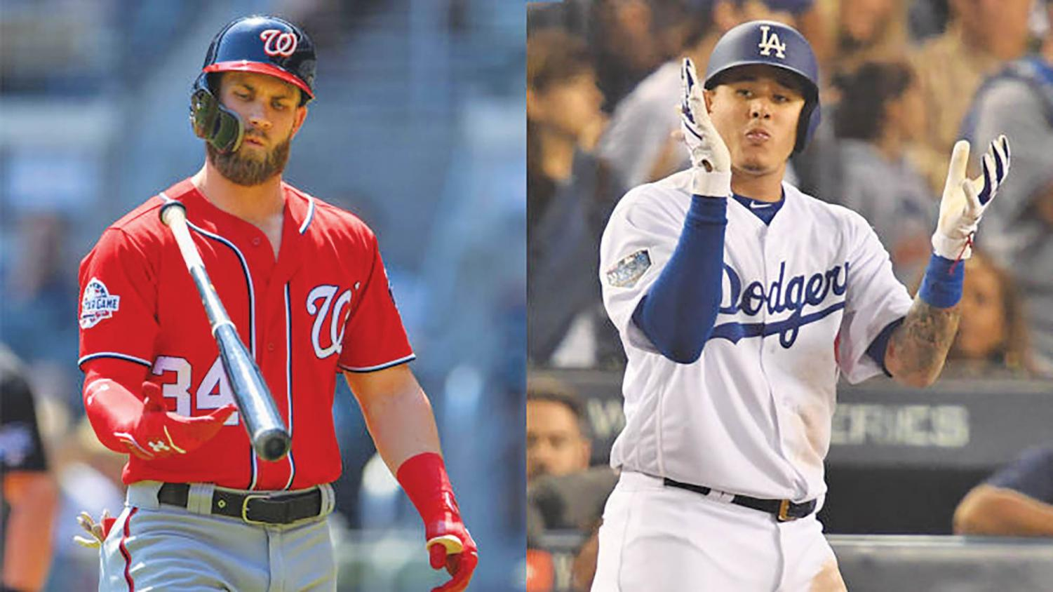 Bryce Harper (left) and Manny Machado (right) headline MLB free-agents.