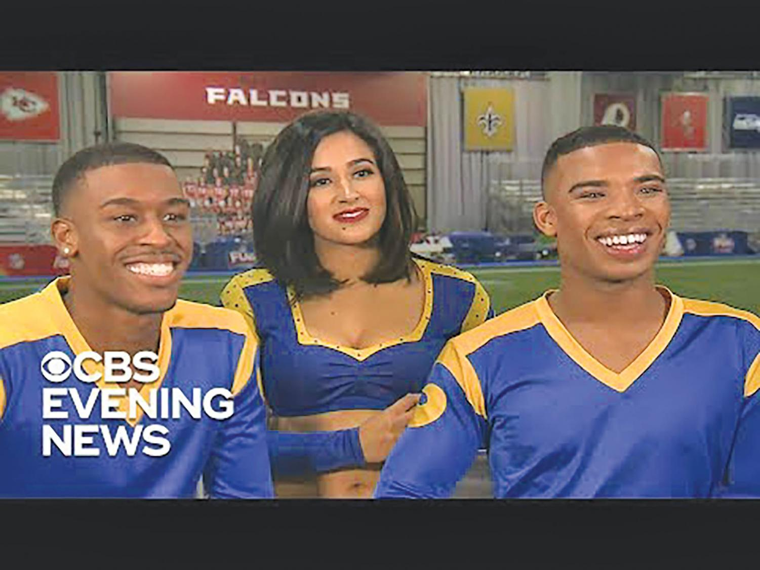 Quinton Peron (left) and Napoleon Jinnies (right) of the LA Rams were the first NFL male cheerleaders to perform at a Super Bowl.