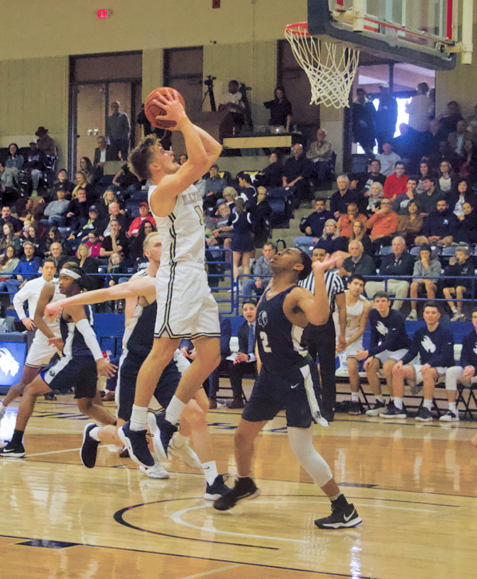 August Haas finished the homecoming game with 11 points and seven assists.