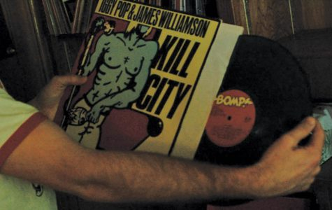 Patrick Dolan pulls out one of the records from his collection. Kill City is a 1977 demo recorded by two ex memebers of the Stooges.