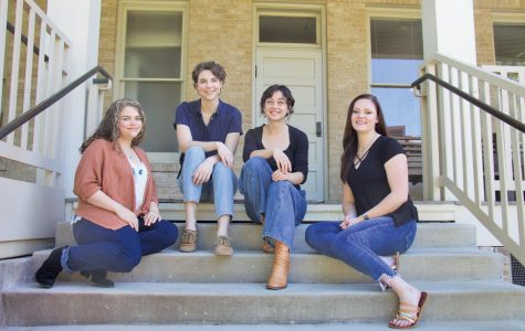 Kendra Felmly (left), Corinne Bates, Sydney Chandler and Kali Ridley pose together on the steps of Sorin Hall. Their Oxford and New York courses begin this summer.